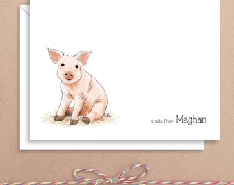 Pig Note Cards - Animal Note Cards - Personalized Children's Stationery - Thank You Notes - Illustrated Note Cards