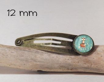 Hair clip FOX SNAP 12 mm diam. Round glass and metal