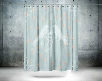 Shower Curtain Shabby Cottage  Rustic Wood Birds Floral optional Bath Mat