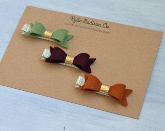 Fall petite hair bow clip set of 3, baby hair clips, Fall hair clips