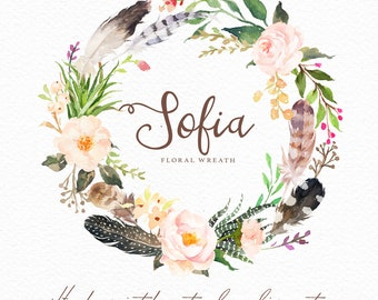 Watercolor floral wreath-Sofia/Individual PNG files/Hand Painted/Wedding design