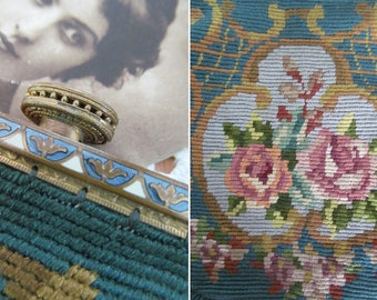 Exquisite antique woven silk evening bag/purse~Superb enamelled frame~Rare teal ground with pink roses & rococo scrolls