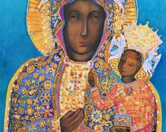 Madonna and Child Our Lady of Czestochowa Black Madonna Icon Virgin Mary Painting Polish POSTER  Catholic Prints Religious Art Polish Gifts