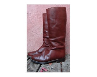 french vintage   leather riding BOOTS //MEN's horse riding BOOTS // size eu 41-uk7-us men's 8