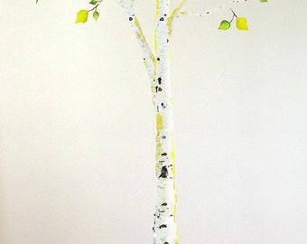Birch Tree Wall Sticker, Birch Tree Fabric Decal, Nursery Tree Sticker, Woodland Nursery Decal, Nature Wall Sticker, Not Vinyl