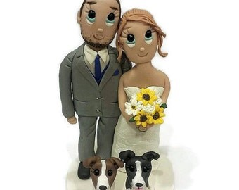 Custom Wedding Cake Topper with Sunflowers and Two Medium/Small Dogs