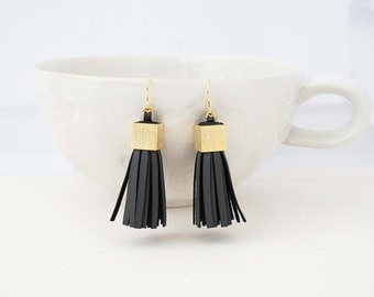 Black and Gold Chunky Leather Tassel Statement Earrings
