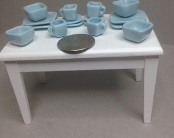NEW-Miniatures-FREE SHIPPING-#M19-Art Deco or Oriental style - 16 pc dinner service for 4 -light blue - nicely detailed - porcelain china