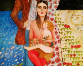 The three ages of woman. Tribute to Gustav Klimt Original watercolor.