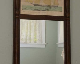 """Vintage MIRROR With a Currier and Ives PRINT of """"The Celebrated Clipper Bark GRAPESHOT Belonging To Geo. Law Esq N.Y."""""""