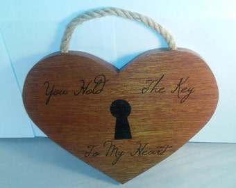 """Wooden """"You Hold The Key To My Heart"""" Wall Hanging"""