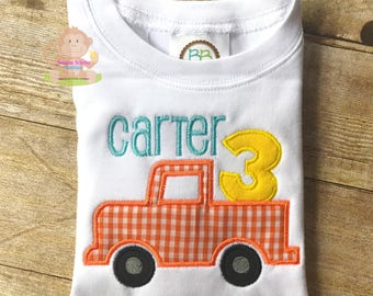 Birthday Truck Number Applique Shirt Personalized Birthday Party Outfit Onesie T-Shirt Bodysuit Construction Theme First Birthday 1 2 3 4 5