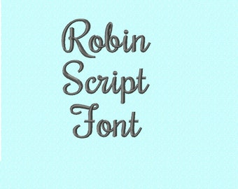 Robin Script Cursive Embroidery Font - INSTANT DOWNLOAD - 2 Sizes - Capitals Lowercase Numbers Punctuation
