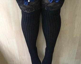 Megan Knit Black Lingerie Thigh High Stockings
