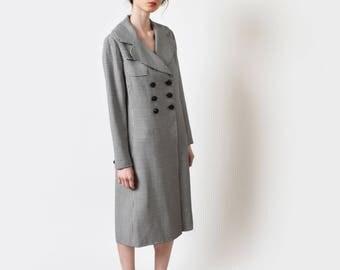 1960s Donald Brooks Gingham Coat Dress 60s Vintage Wool Sheath Dress A Line Mod Preppy S M