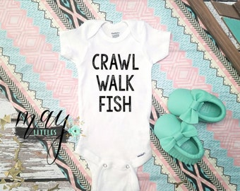Crawl Walk Fish Bodysuit - Outdoor Baby Clothes - I Love Fishing Clothes - Redneck Baby Jumper