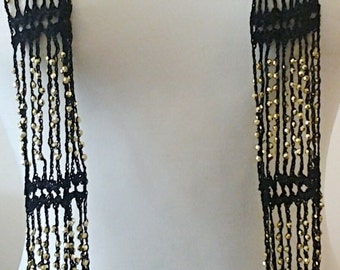Black Crochet Necklace Scarf /Black Crochet Gold Beaded Necklace Scarf.