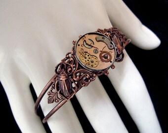 Steampunk Bracelet - Watchwork - Copper - Clockwork - Scarabs - Mechanical - Insects - Time Eaters - Retrofuturism Jewellery