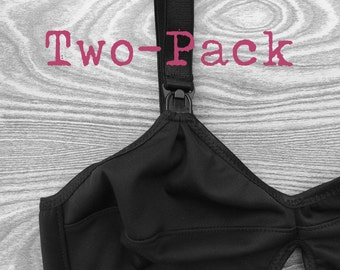 Nursing Bras - Two-Pack - No Straps - Lucky Muthah Collection Maternity Breastfeeding Mama Custom