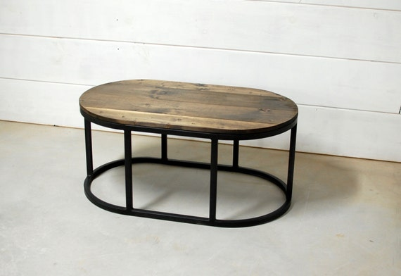 Oval industrial coffee table reclaimed wood by for Industrial farmhouse coffee table