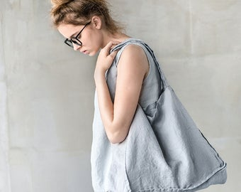 Large linen tote bag / linen beach bag / linen shopping bag in light elephant grey