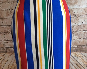 Vintage Fenn Wright & Manson Skirt Bold Bright Striped Slim Pencil Style Wiggle Bohemian Boho Chic Summer Holiday 29 in Waist c 1990s