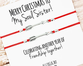 """Set of Two Friendship Bracelets with """"Merry Christmas to My Soul Sister"""" Card 