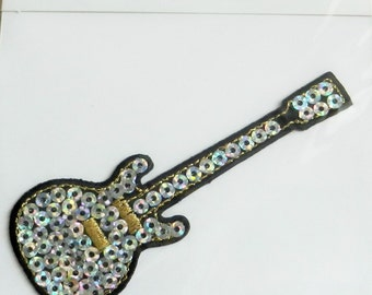 SILVER SEQUIN GUITAR Iron On Applique Motif Patch, Brand New