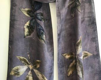 Leaf Print Silk Scarf / Purple Gray Eco Print Scarf / Botanical Nature Print