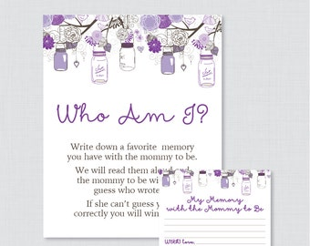 Purple Baby Shower Who Am I Game Printable   Memory Of The Mommy To Be Game