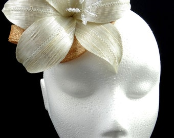 Ivory and bronze fascinator hat, floral headpiece