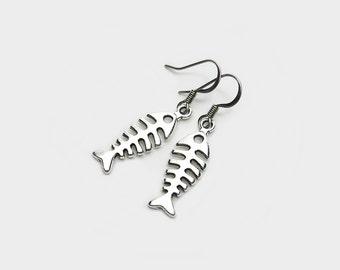 Fish bone earrings etsy for Fish bone earrings