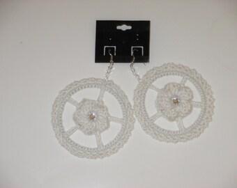 "Crochet Hoop Earrings -White- 3"""