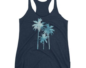 Palm Trees Tank Top - Palm Trees Top - Tropical Tank - Beach Tank - Racerback Tank Top - Ladies Graphic Tank - by Bloom Bloom Wear