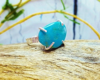 Raw Blue Opal Ring ~ Simple Promise Ring ~ Boho Engagement Ring ~ October Birthstone ~ Something Blue ~ Gemstone Jewelry Gift For ME!