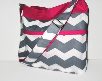 CROSS BODY BAG, Cross Body Purse, Chevron Tote, Ladies Handbags, Gray And White Chevron With Pink Accent, Other Colors Available