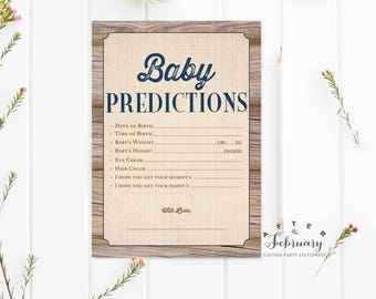 Rustic Baby Shower Predictions for Baby Card Country Brown Wood Farm Rustic Baby Shower Games Boy Printable // INSTANT DOWNLOAD No.709NAVY