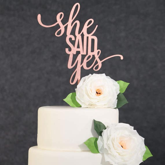 gold wedding cake topper wedding cake topper gold she said yes cake topper 14833