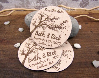 Tree Save the Date Magnet, Custom Engraved Save the Date, Wood Save the Date, Rustic Save the Date, Wedding Invitation, Fall Wedding Invite