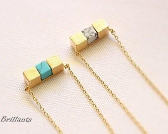 Cube Bar Stone necklace, Geometric stone necklace, Turquoise, Hawlite, Stone necklace, Everyday necklace, Bridesmaid gift, Wedding necklace
