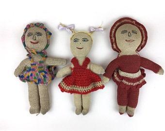 vintage handmade folk art doll, cloth doll, rag doll, fabric doll, crocheted dolls