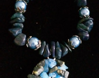 Blue Kyanite, Aquamarine, Yellow Turquoise and Steel Blue Pearl Tree of Life Bracelet