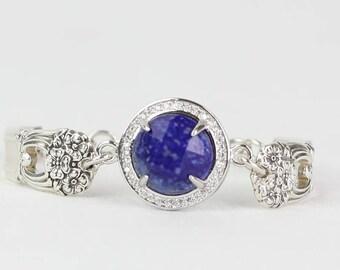 Lapis Gemstone Bracelet, Spoon Bracelet Magnetic Clasp,  Blue Everyday Bracelet, Lapis Bracelet, Best Friend Gift , Spoon Jewelry, Mom Gift