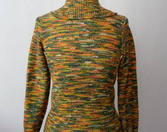 1960s knit space dye turtleneck top rainbow multicolor spacedye tie dye vintage rainbow metallic gold thread colorful XS-S exaggerated neck