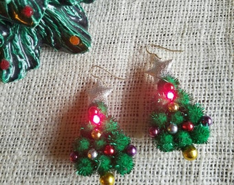 Amazing Light-Up Vintage LED Christmas Tree Dangle Earrings Pom Pom Bead Star Sparkly Tacky battery powered flashing Ms Frizzle Ugly Sweater