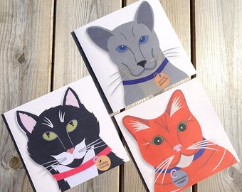 Cat Note Cards, Cat Card Set, Cat Cards, Cat Stationery, Cute Cats, Cat Illustration, Cat Greeting Cards, Black Cat Card, Orange Cat, Grey