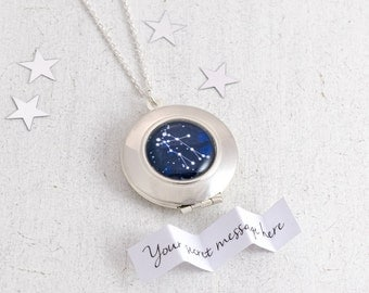 Zodiac Necklace, Constellation Necklace, Personalised Locket, Zodiac Jewelry, Custom Locket, Star Sign, Personalised Jewelry
