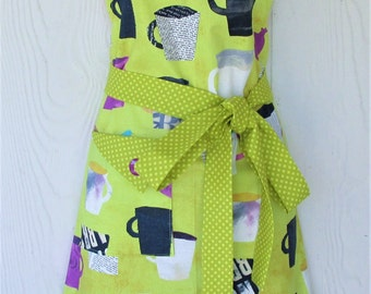 Colorful Coffee Cup Apron, Coffee Lover's Apron, Women's Full Apron, 50's Retro, KitschNStyle
