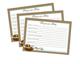 Noah's Ark PRAYERS FOR BABY Baby Shower Birthday Party Note