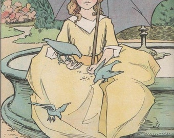 Beautifully Dressed Girl under her Parasol Feeding the Pigeons - Vintage Children's Print by Victoria Madge 1918 - Matted - Ready to Frame